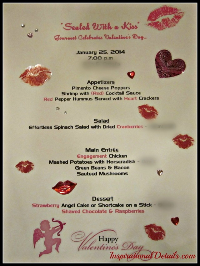 Valentine's day dinner party menu