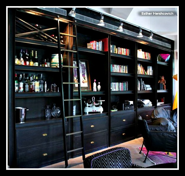 bookcases with a serving station
