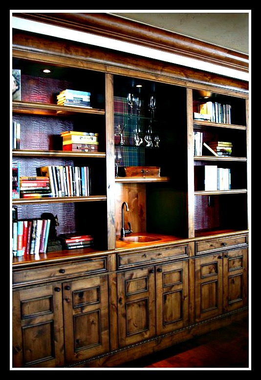 bookcases with a bar