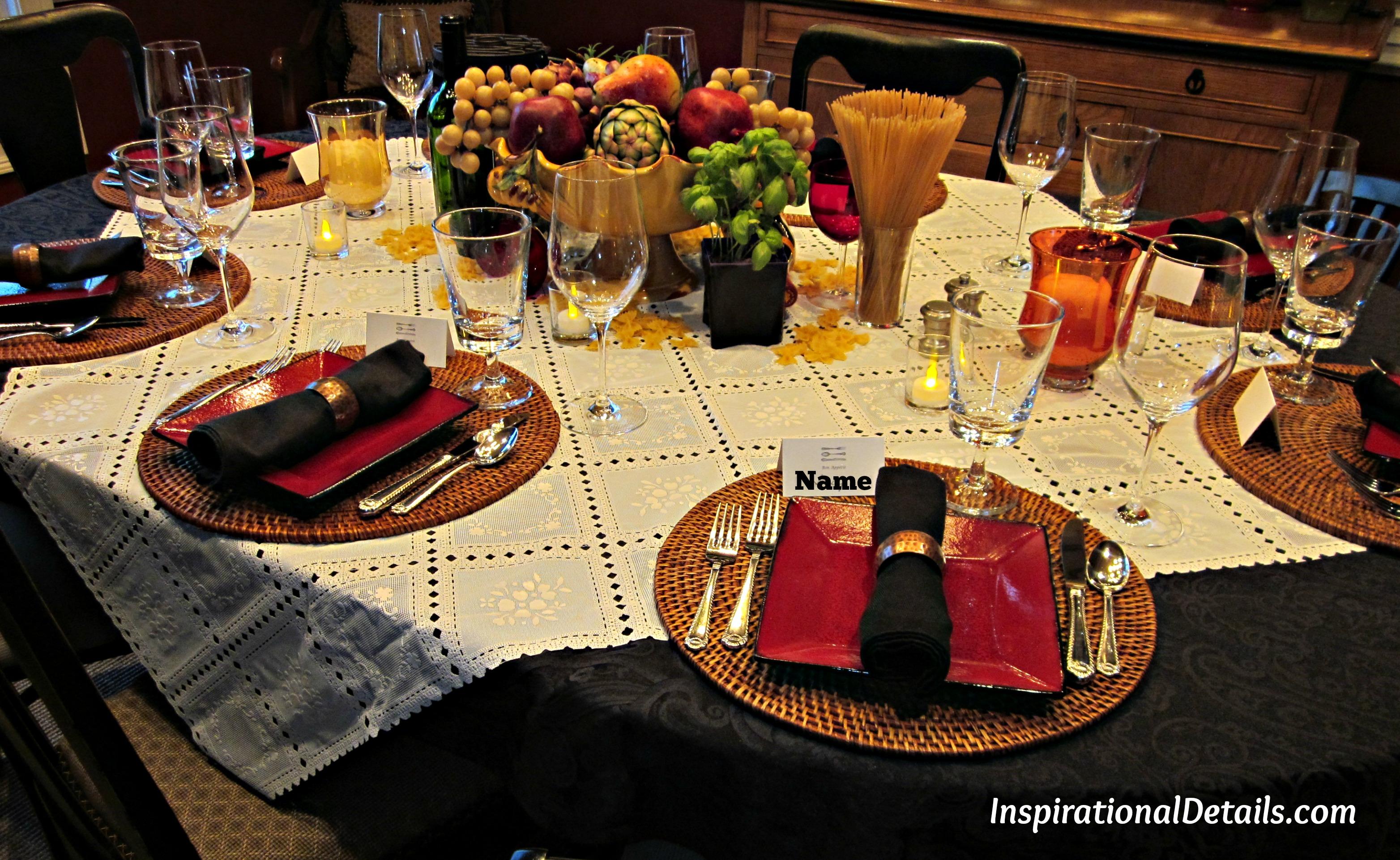Italian dinner tablescape inspirational details for Italian dinner
