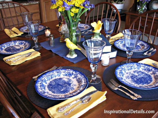 Blue /French themed tablescape - InspirationalDetails.com