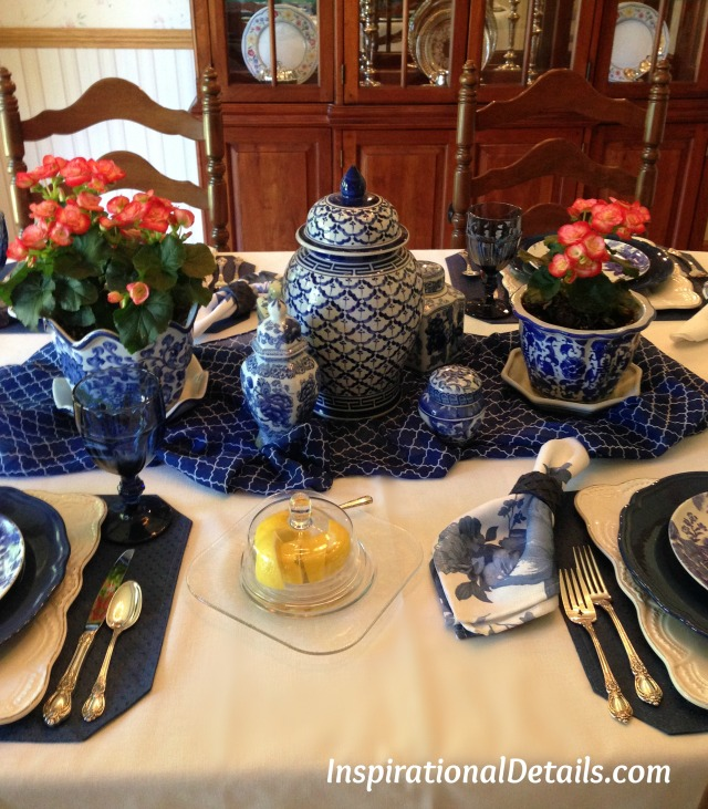 cobalt blue & white tablescape