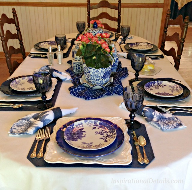gorgeous cobalt blue table