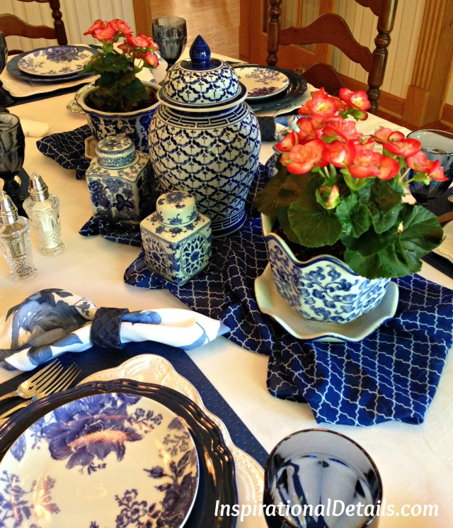blue & white beautiful table