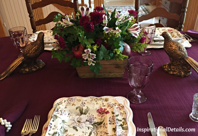 cranberry color fall table setting