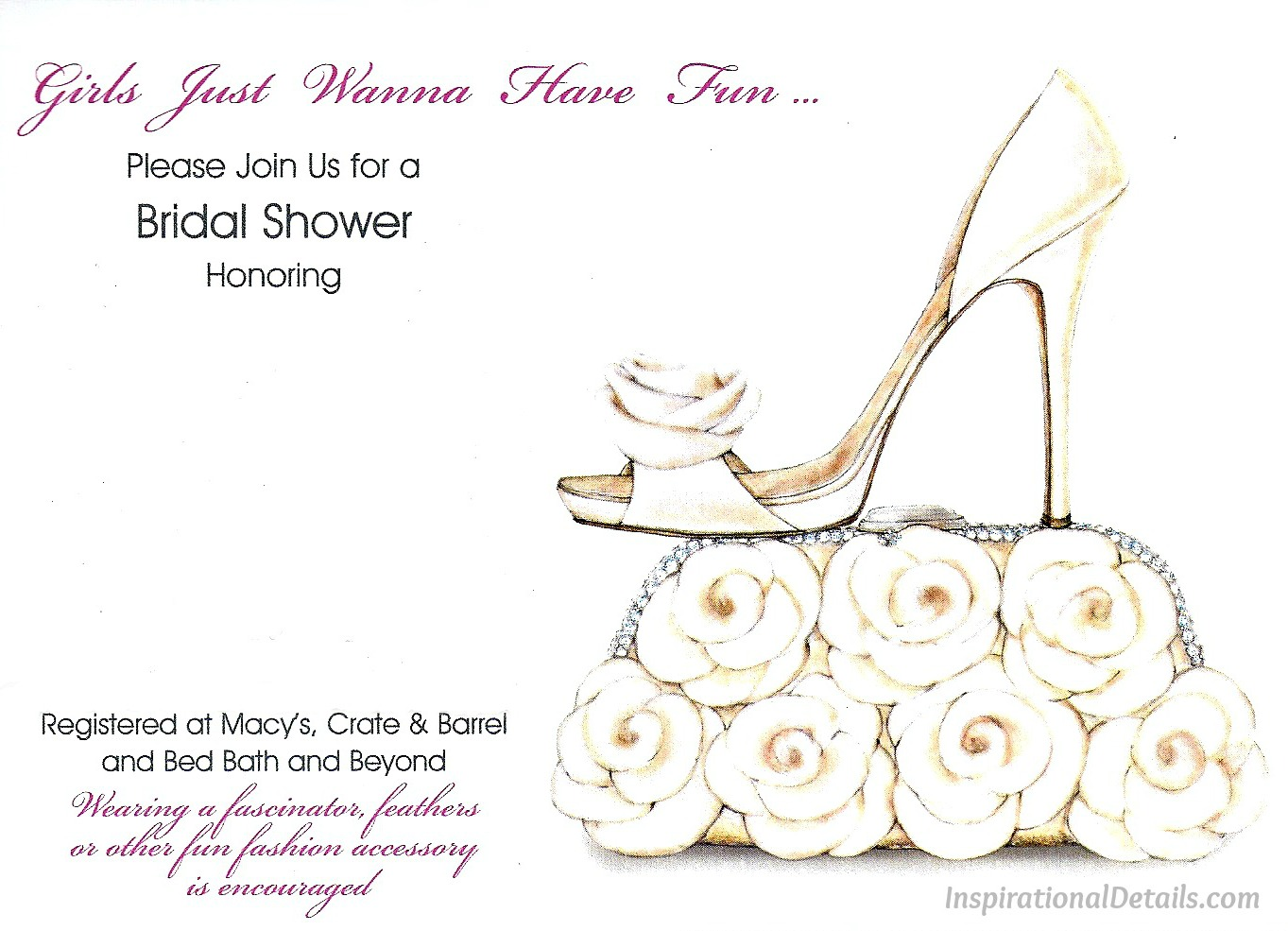 A wedding journey bridal shower girls just wanna have fun cute bridal shower invitation with shoe filmwisefo