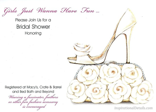 cute bridal shower invitation with shoe