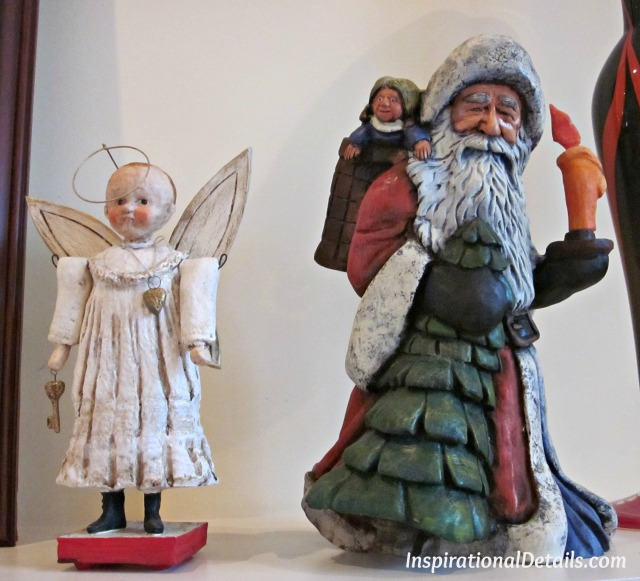 hand carved Santa & angels