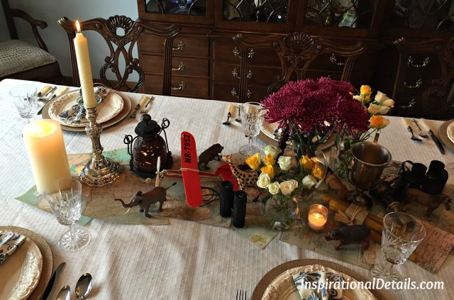 """Out of Africa"" tablescape"