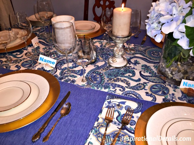 blue coastal tablescape
