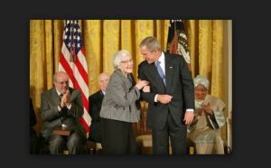 President George W. Bush awards the Presidential Medal of Freedom to Harper Lee in 2007 Source: google
