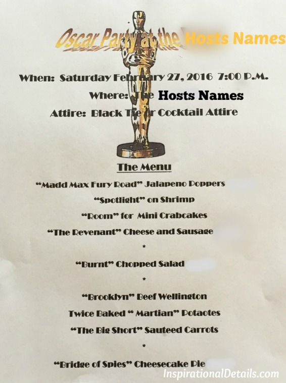 Oscar theme dinner party