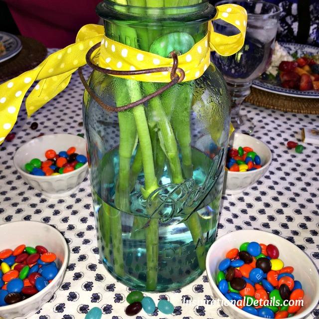 green tinted mason jar