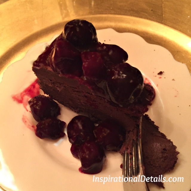 chocolate cheesecake pie with bourbon cherries