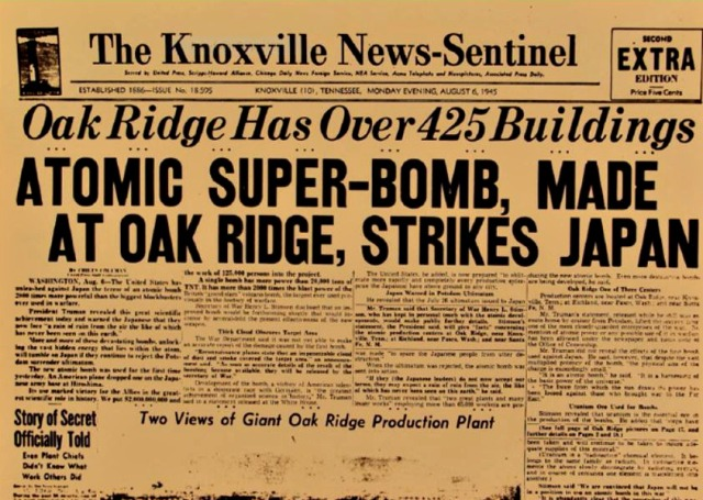 Knoxville learns what Oak Ridge has been working on... Source: The Girls of Atomic City website