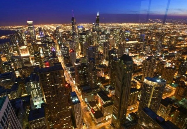 "Beautiful view of Chicago from the ""Signature Room at the 95th"" Photo source: The Signature Room at the 95th"