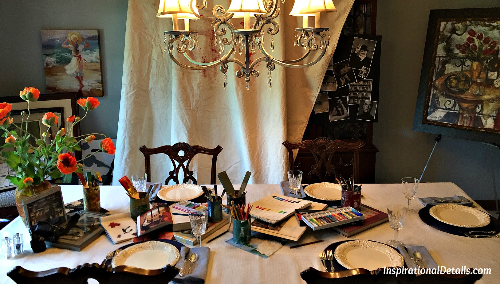 "art theme tablescape and ""georgia"" book club lunch 