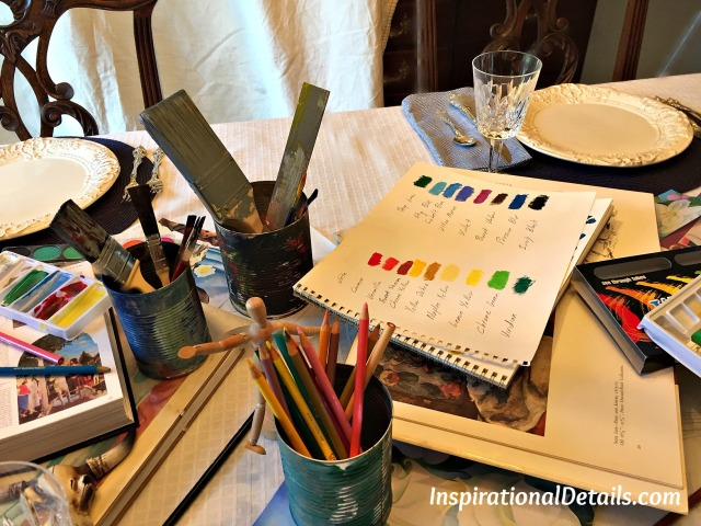 artist materials ideas for tablescapes