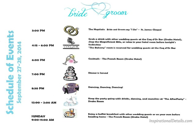 wedding event schedule for guests ideas