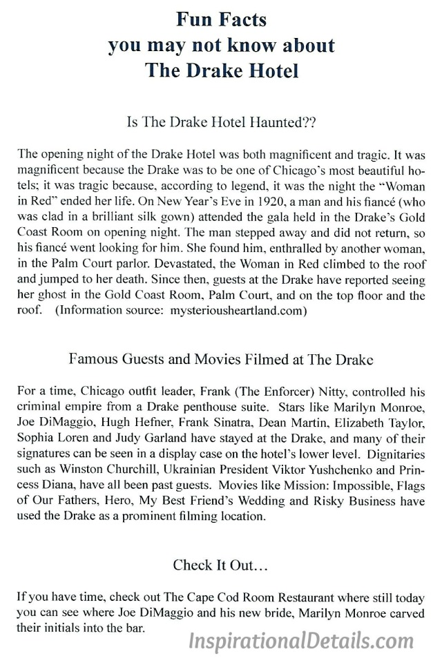 wedding welcome bags - fun facts about Drake Hotel
