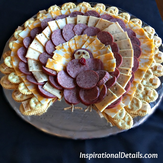 turkey shaped cheese and sausage platter