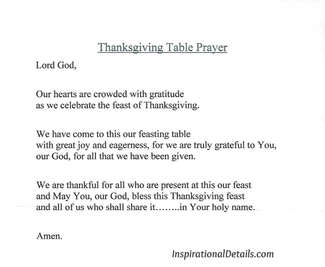 Thanksgiving Prayer at the Table