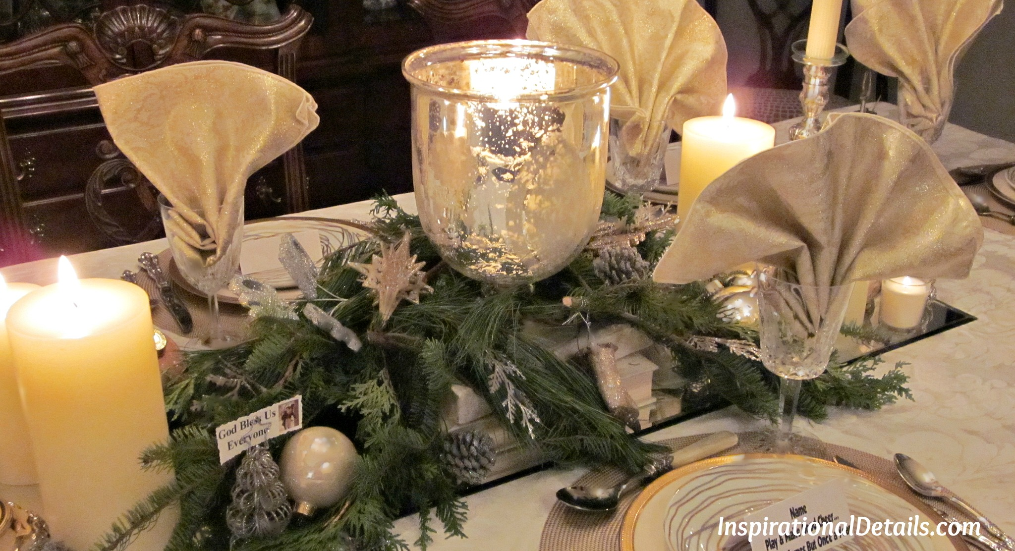 Gold And Silver Christmas Theme Dinner Fete