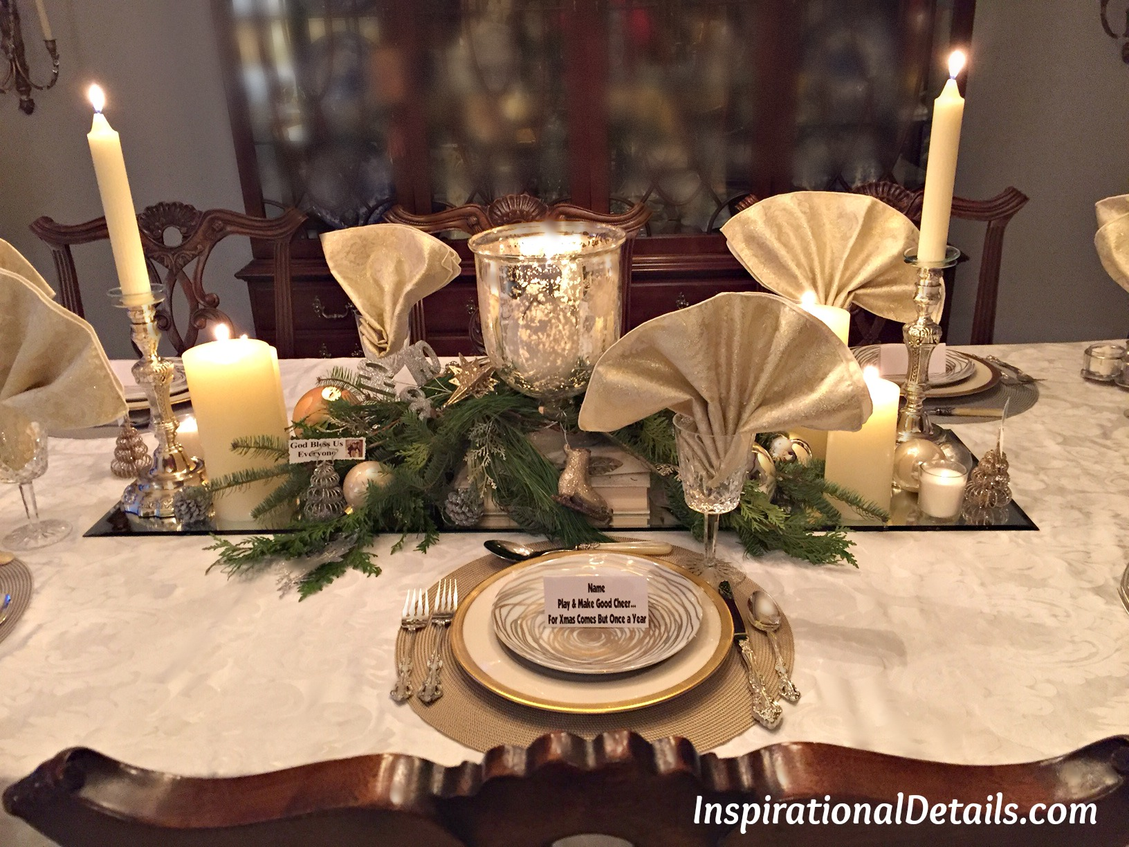 Christmas Dinner Party Ideas.Gold And Silver Christmas Theme Dinner Fete Inspirational