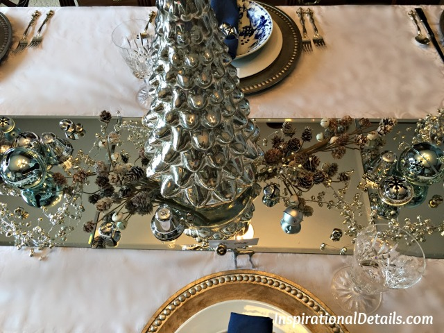 blue and silver Christmas table ideas