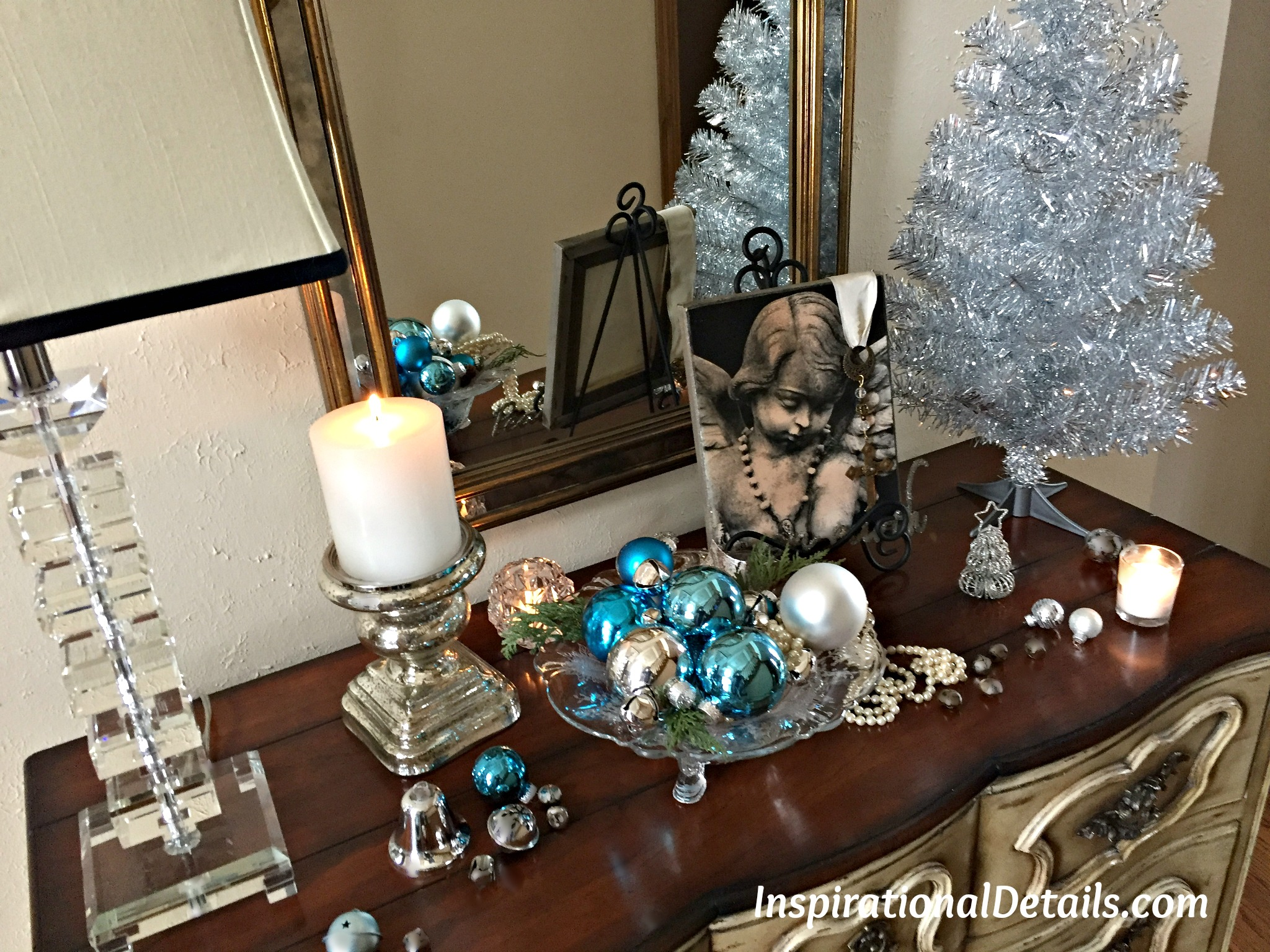 a silver bells christmas theme dinner party inspirational details