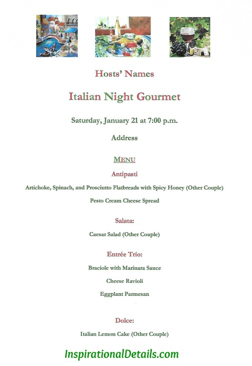 Italian dinner party menu ideas