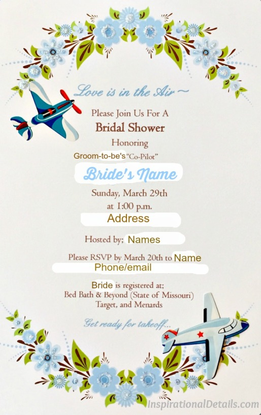 pilot / airline / travel theme bridal shower ideas