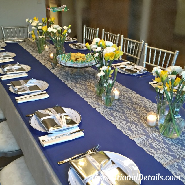 blue & yellow simple bridal shower