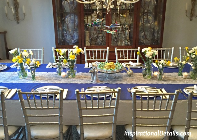 bridal shower with blue and yellow theme