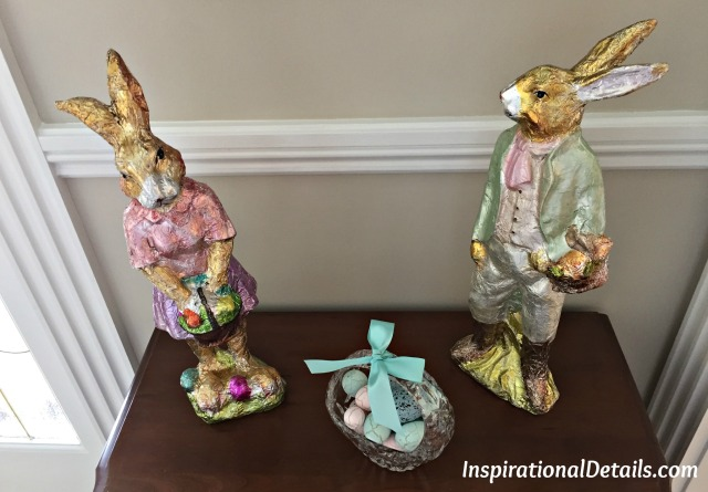 foil wrapped chocolate bunnies Easter decor