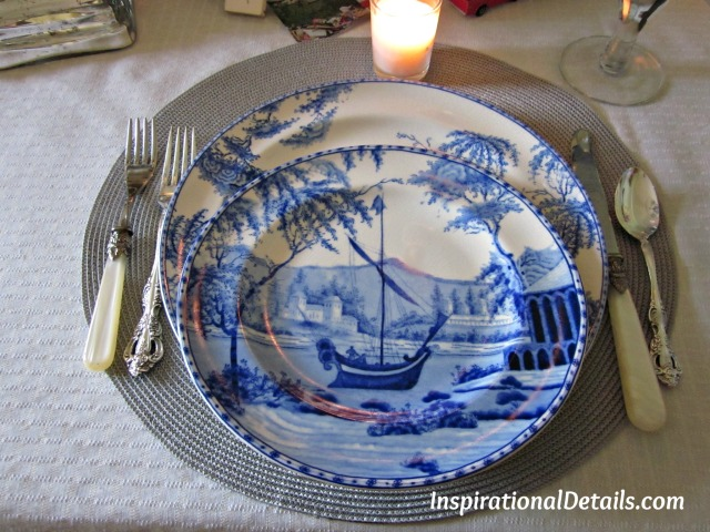 pretty blue & white dinner plates