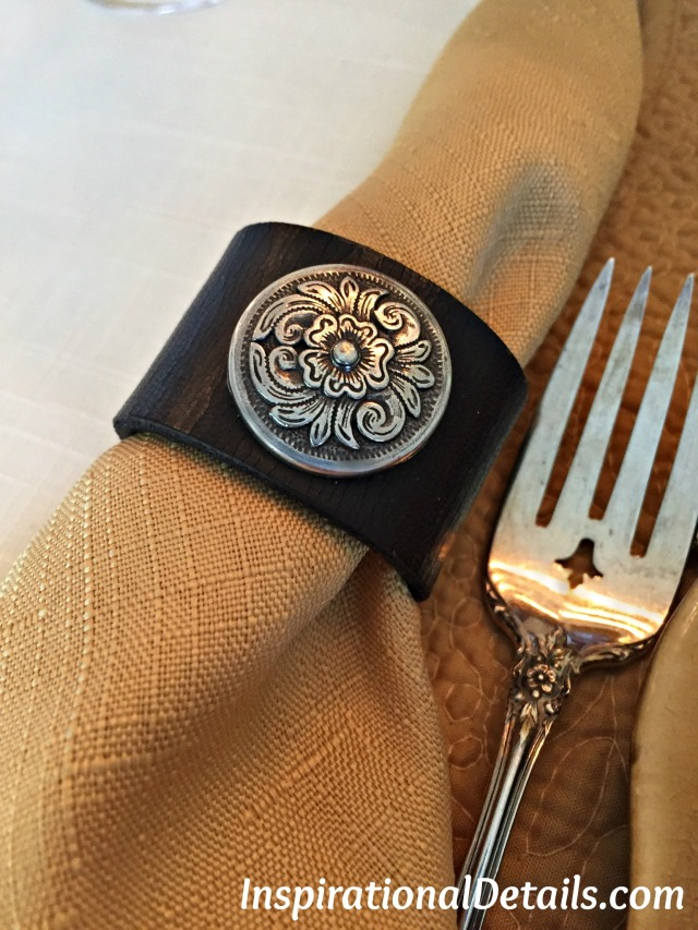 repurposed belts into napkin rings