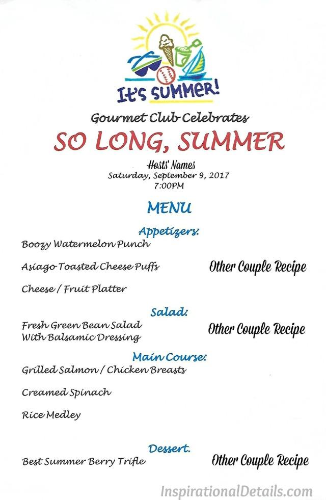 summer dinner party menu ideas