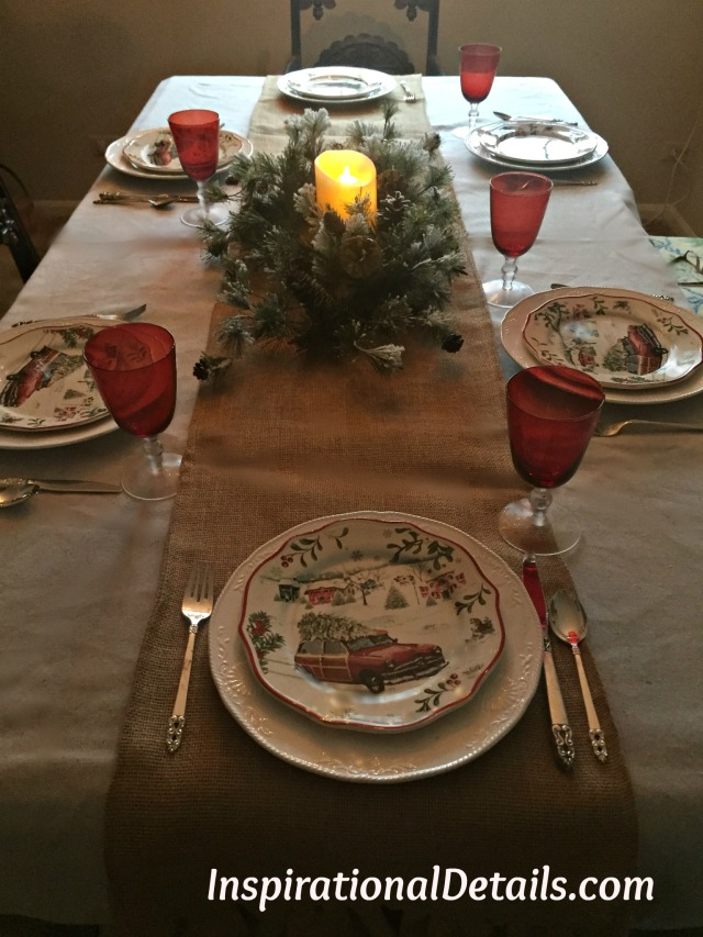 christmas table with red truck with christmas tree