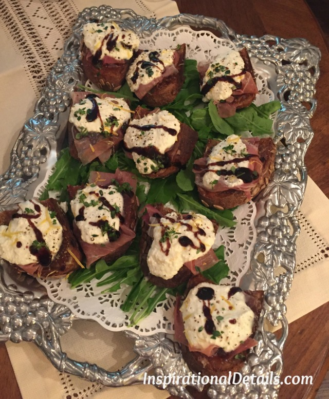 prosciutto & goat cheese with balsamic glaze on toast brunch idea