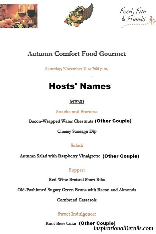 fall/autumn menu ideas