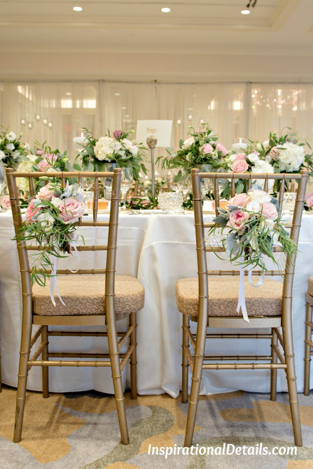 bride & groom chair florals