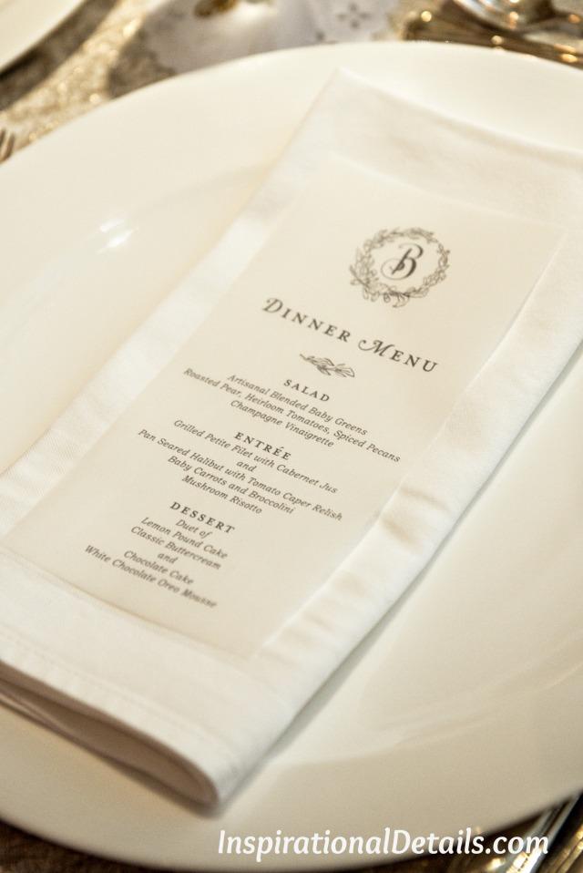 beautiful wedding menu ideas