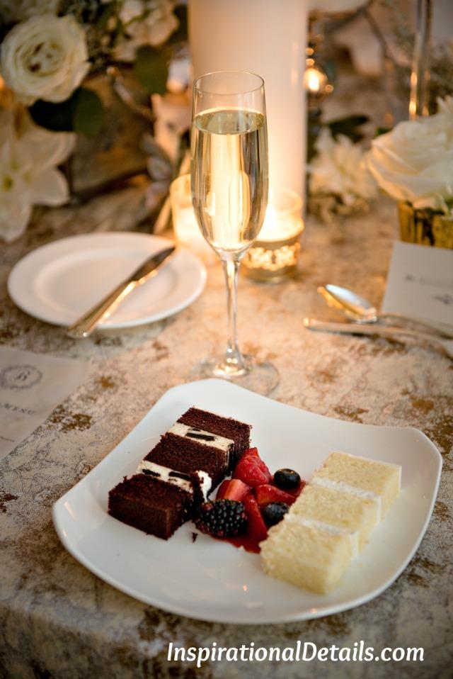 lemon pound cake and chocolate cake with white chocolate oreo mousse