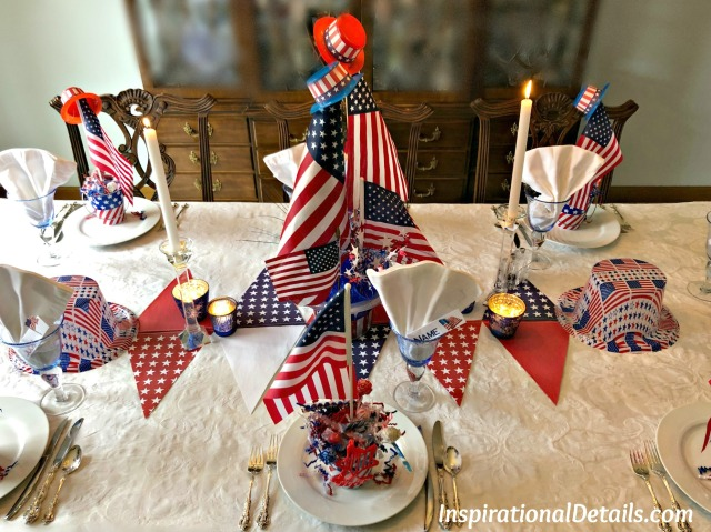 red white and blue table ideas