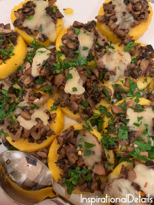 polenta bites with mushroom and fontina dinner party appetizer ideas